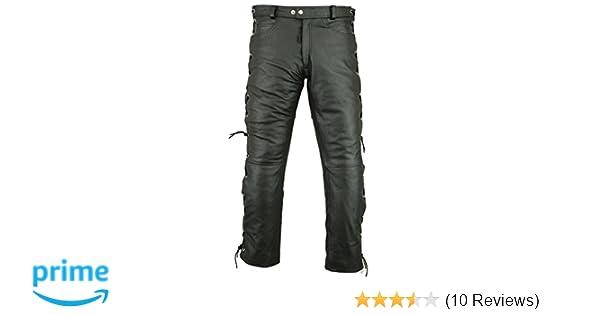 fda9b9a02f88 RIDEX Mens Motorbike Biker Motorcycle Leather Trouser Side Laces Black:  Amazon.co.uk: Clothing