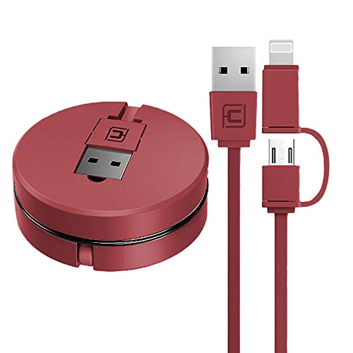 2 in 1 Einziehbares USB-Kabel für Apple IOS / Android, Cuitan 1m Retractable Datenkabel Ladekabel Charging Cable Lightning Kabel Aufladekabel für iPhone 7, 7plus, 6s Plus, 6s, 6, 6 Plus, 5s, iPad mini, iPad air, Samsung S7, S7 Edge, S6, S6 Edge, HTC, LG - Rot(Stil 1) (Usb Retractable Cable Lightning)