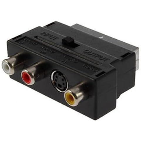 TRIXES RCA Compuesto RCA o y S-Video a la entrada/salida conmutable de adaptador SCART