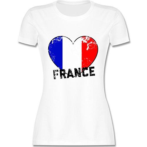 EM 2016 Frankreich France Herz Vintage tailliertes Premium TShirt mit  Rundhalsausschnitt für Damen Weiß