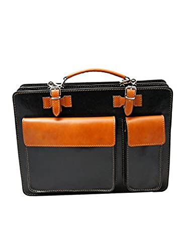 Limited Edition Classic Style Italian Vacchetta Cowhide Leather Briefcase With