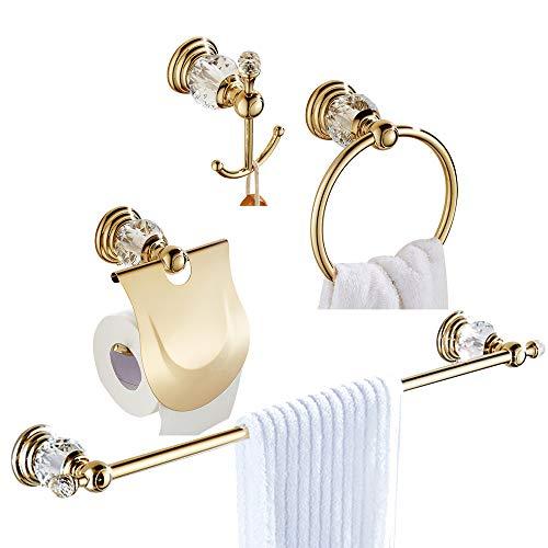 Womao set di accessori da bagno in oro di 4 pezzi tutti in lega di zinco con cristallo, portasalviette portasalviette portasalviette portasalviette per wc, sospeso in stile lusso in oro lucido