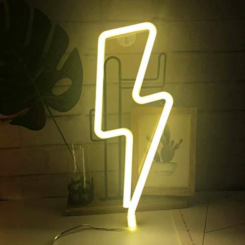 LED Lightning Form Leuchtreklame Licht Kunst dekorative Lichter Wand Dekor für Baby Zimmer Weihnachten Hochzeit Party Supplies (warmweißes Licht)