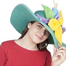 Sombrero de gomaespuma pamela verde de flores de colores