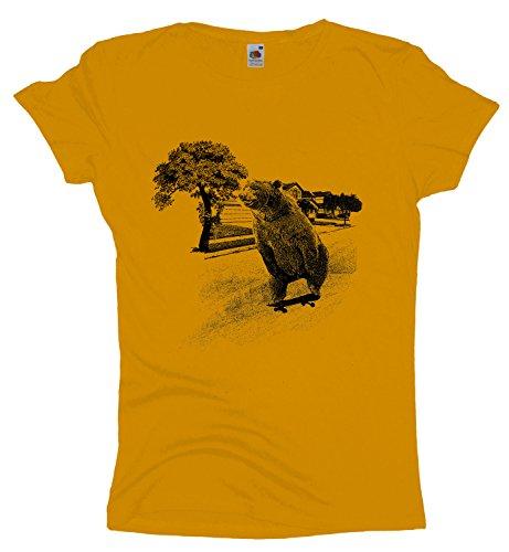 Skateboard Bear Damen T-Shirt |Skateboarder Girlie Shirt Skater Bär-Sunflower-m