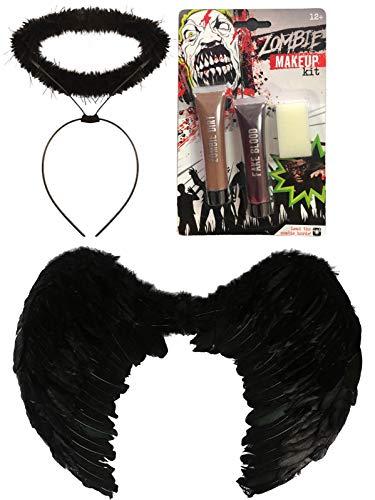Secret Victoria's Kostüm Teufel - labreeze Halloween-Kostüm, mit Federflügeln, groß, Schwarz