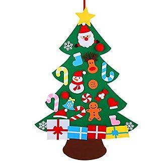 KEFAN Conjunto de árbol de Navidad de Fieltro, 0,9 m de Alto, para Colocar en Pared, con Adornos, Regalo navideño para niños, Manualidades para Decorar (A)