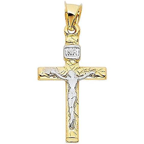 14K Amarillo y Oro blanco 2Dos Tonos oro crucifijo cruz colgante