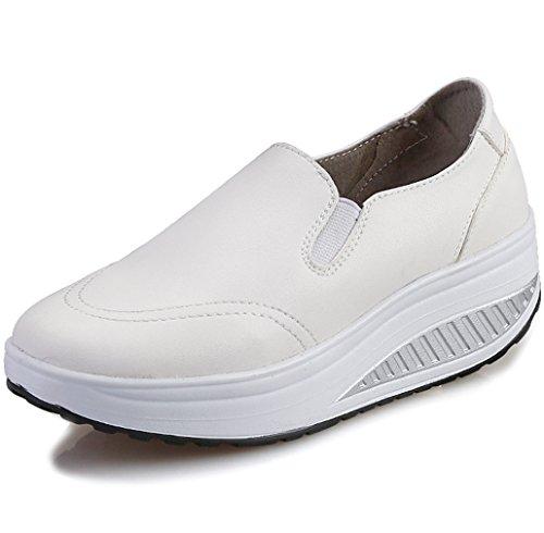 Solshine Damen Einfach Leder Bequem Erhöhte Sportliche Loafers Freizeitschuhe Weiß 37 EU / 4 UK / 6 US (Leder-leichte Loafer)