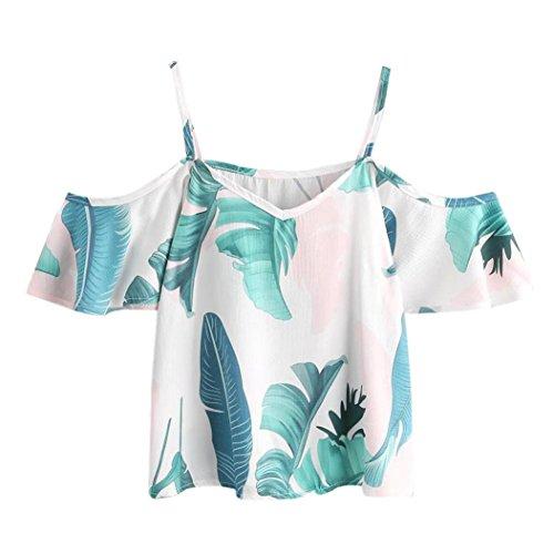 feiXIANG mode frauen Damen tragen ab lässt casual t - shirt Bluse mit kurzen Ärmeln und Blattdruck (M, Grün) (Gestreift Bekommen Mädchen)