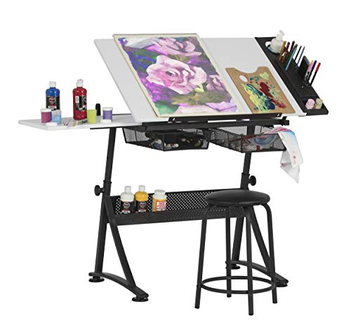 Studio Designs Fusion Craft estación, Metal, en Negro/Blanco, 122x 61x 90cm