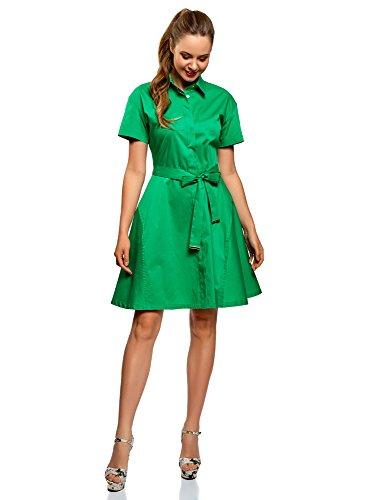 Oodji Collection Mujer Vestido Camisa Cinturón, Verde