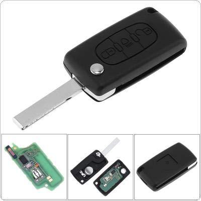 3pulsanti KEYLESS Uncut del telecomando portachiavi con luce pulsante ID46chip e HU83CE0536lama per Citroen C3C4C5modelli 2005–2011433MHz