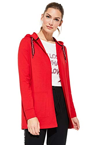 comma Casual Identity Damen Sweatshirt-Jacke aus Jersey mit Kapuze red 36