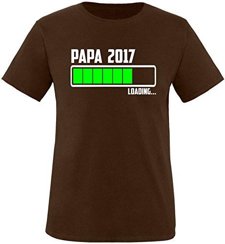 EZYshirt® Papa 2017 Herren Rundhals T-Shirt Braun/Weiss/Neongr