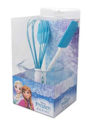 P:OS Handels GmbH 28284 Backset im Disney Frozen Design, 4 teilig, mit Messbecher, Schneebesen, Teigschaber und Pinsel, bunt (Frozen Disney Cake)