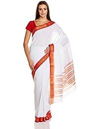 IndusDiva White Hand Spun Ponduru Khadi Handloom Saree