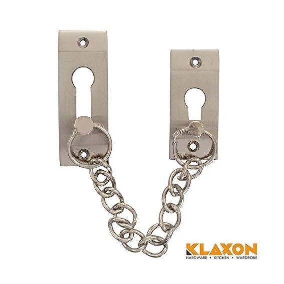 Klaxon Exclusive Brass Door Chain (Silver, Silver Finish)