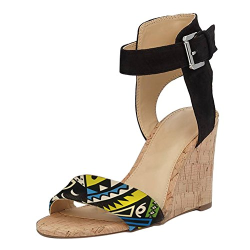 Damen Open Toe Sommer Samt Sandalen High-Heels Keilabsatz Knöchelriemchen Schnalle PU-Mehrfarbig