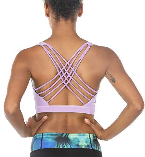 icyzone Sport-BH Damen Yoga BH mit Polstern - Kreuz Rücken Sport Bustier Jogging Fitness BH (Lilac, S) - Sexy Polster-bh