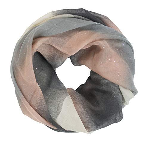 Glamexx24 Neue Kollektion Damen schal leichter Langschal Loop Schlauchschal Tuch Viele Farben, 4a2 Aprikosa Grau, Einheitsgröße