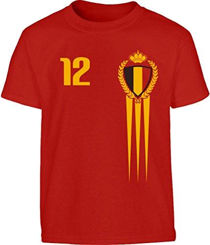 Belgien Kinder Fußball Fantrikot Fanshirt Kleinkind Kinder T-Shirt - Gr. 86-128 116/128 (5-7J) Rot