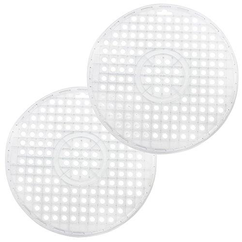 COM-FOUR 2x tapis d'évier rond en transparent, Ø 32 cm, tapis de rinçage protège la surface de l'évier et la vaisselle (transparent - 2 pièces)
