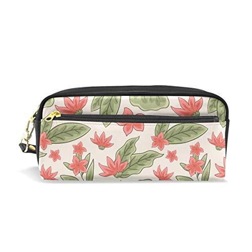 Federmäppchen für Studenten, Botanisches Blumen-Muster, grüne Blätter, PU-Leder Organizer, Stifthalter, Geldbörse, wasserdicht, große Kapazität, Mini-Make-up-Tasche -