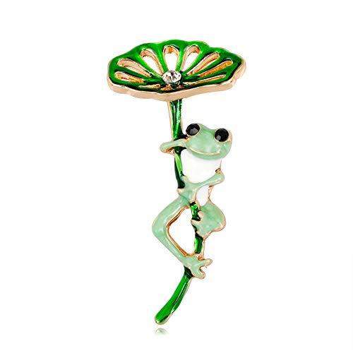 (Fansi Persönlichkeit Cartoon Brosche Lotusblatt Frosch Brosche Damen Kleidung Dekoration Zubehör Brosche Abzeichen Damen Geschenk (1 Stück))