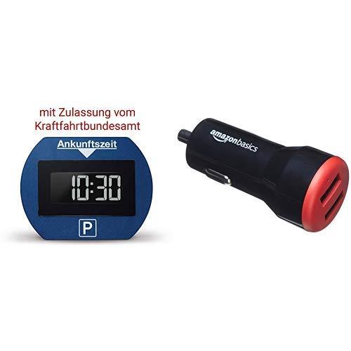 Needit PARK LITE 1411 Vollautomatische Parkscheibe, CR 2450 Knopfzelle inkl., blau AmazonBasics - Kfz-Ladegerät für Apple- & Android-Geräte, USB-Anschluss: 2 Eingänge, 4,8 Ampere / 24 W, Schwarz / Rot