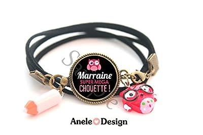 Bracelet Marraine - Marraine Super Mega Chouette! - noir rose crayon rose cabochon cadeau