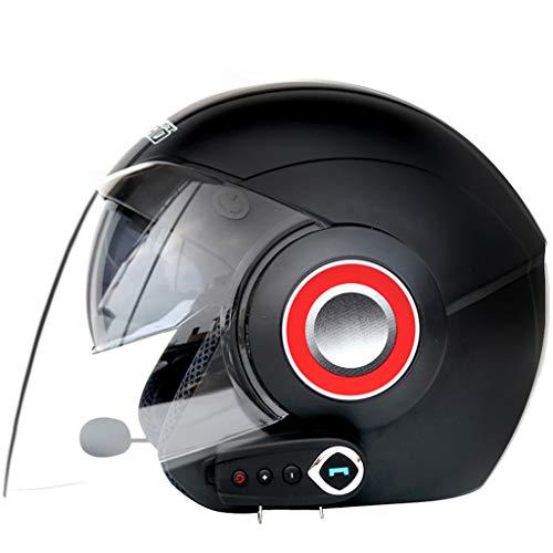 LTOOTA Casco Moto Integrale Bluetooth, Elmetto Anti-Appannamento Modulare Doppio Parasole Aperto Bluetooth Integrato Microfono Altoparlante Incorporato, Certificazione Ece 22.05,MatteBlack,L
