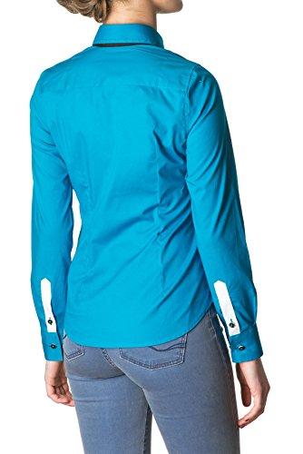 Di Prego - Chemise turquoise, manches longues. Poignets réversibles noir avec des boutons pour ajuster la largeur - Femme Turquoise