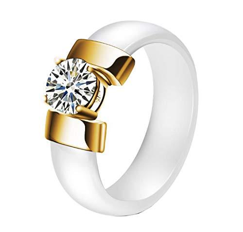 Hijones grande cristallo anello in ceramica da unisex in acciaio inossidabile con zirconi fedi nuziali placcato oro bianca dimensione 20