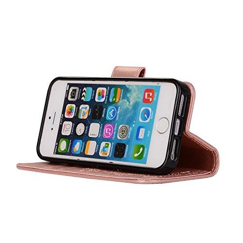 Apple iPhone 5 5G 5S SE hülle,Voguecase 2 in 1 Combo Kunstleder Tasche PU + TPU Schutzhülle Tasche Brieftasche Hülle Handy Schutzhülle Case Cover Abnehmbare Handy Shell Geldbörse (Mädchen und Katzen - Mädchen und Katzen - Roségold