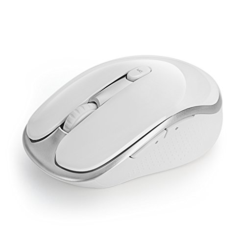 Jelly Comb Wireless Mouse, Mouse Ottico 2.4G Mouse Senza Fili Wireless Silenzioso, 6 Pulsanti DPI 800/1200/1600 Regolabile per PC/Tablet/Laptop con Mac/Windows/Linux, Bianco + Argento