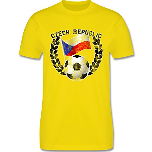 EM 2016 - Frankreich - Czech Republic Flagge & Fußball Vintage - Herren Premium T-Shirt Lemon Gelb