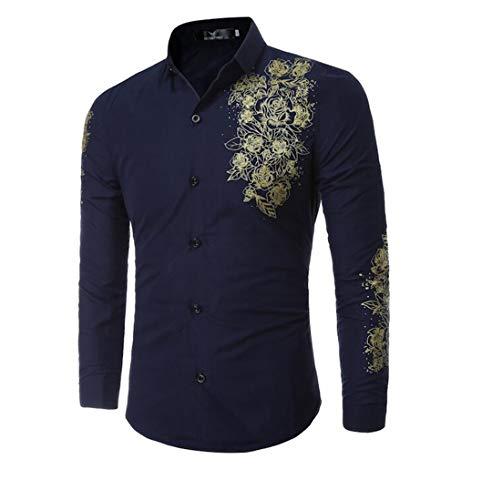 Männer Shirt Aristokratischen Druck Kleid Shirt Langarm Slim Fit Masculina Casual Shirts Navy asiatischen Größe XL