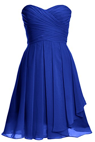 MACloth Women Strapless Lace up Short Bridesmaid Dress Cocktail Party Gown Royal Blue