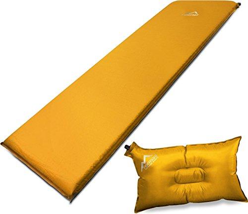 Selbstaufblasbare Luftmatratze inkl. Kissen zum Outdoor Camping Farbe Orange Größe 198 x 68 x 9 cm