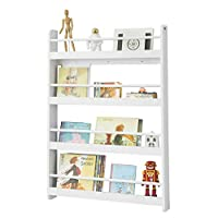 SoBuy® KMB08-W, Wall Mounted 4 Tiers Children Kids Bookcase Book Shelf Storage Display Shelving Rack, 80x12x118cm