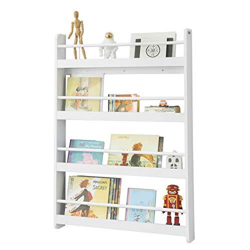 SoBuy® KMB08-W Bibliothèque Murale Étagère de Rangement Étagère à Livres Enfants Étagère Murale avec 4 Étages - Blanc