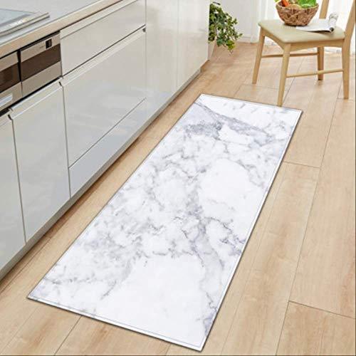 �en Schwarz Weiß Marmor Gedruckt Eingang Fußmatte Lange Fußmatten Teppiche Für Wohnzimmer Küche Bad Teppiche 40X120 cm A ()