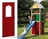 Wandelement mit Fenster für Spielhaus rot, 90x138cm - Kinderspielgeräte für Garten, Spielgeräte für Kinder, Spielturm, Spieltürme
