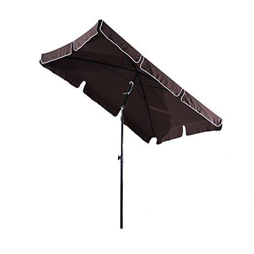 Outsunny ombrellone parasole con palo inclinabile rettangolare giardino e spiaggia poliestere 200 × 125 × 235cm marrone