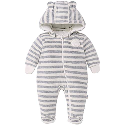 JiAmy Neugeborenes Baby Winter Overall Mit Kapuze Strampler Schneeanzüge Dicke Gestreifte Outfits Beige 0-3 Monate