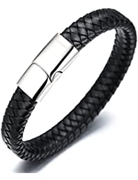 "Halukakah ""SOLO"" Men's Genuine Leather Bracelet Classic Style Titanium Clasp with Magnets 8.46""(21.5cm) with FREE Giftbox"