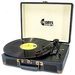 Platine Vinyle,VINYL MUSIC ON Suitcase Mallette Vintage Bluetooth, 2 Haut-parleurs stéréo, Port USB-Midi, 33, 45, 78 Tours
