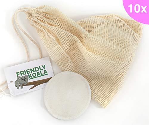 Friendly Koala waschbare Abschminkpads 10x inkl. Wäschenetz aus Baumwolle | wiederverwendbare Pads aus Baumwolle | Hochwertige Kosmetikpads Abschminktücher Make Up Entferner - Sieht Das Augen Make-up Entferner