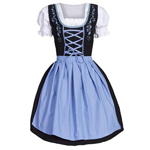 Longra Damen Trachtenkleid Dirndl Traditionelles Abendkleid für Oktoberfest Mittelalter Vintage Kleid & Schürze, Blau Frauen Oktoberfest Kostüm Bayerisches Bier Tavern Maid Dress (M, Blau)